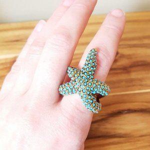 Kenneth Jay Lane turquoise bead starfish ring